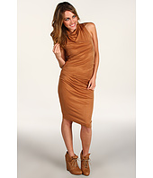 Halston Heritage - Short Sleeve Mock Neck Draped Dress