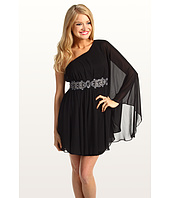 Eliza J - One Shoulder Chiffon Dress With Beaded Waist