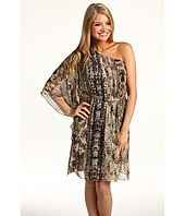Eliza J - One-Shoulder Snake Skin Print Dress With Belt
