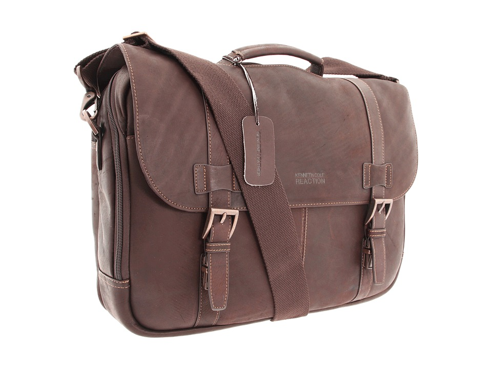 Kenneth Cole Reaction - Colombian Leather - Flapover Portfolio/Computer Case (Dark Brown) Computer Bags -  adult