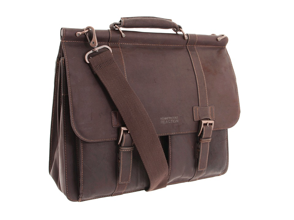 Kenneth Cole Reaction - Colombian Leather - Dowel Rod/Portfolio Computer Case (Dark Brown) Briefcase Bags
