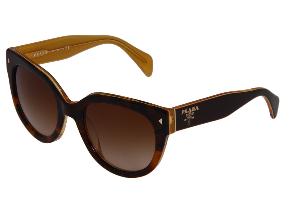 Prada 0PR 17OS Top Light Havana/Opal Yellow/Brown Gradient Fashion Sunglasses