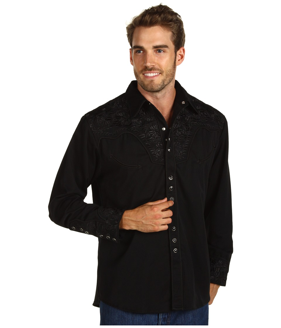 Scully Floral Tooled Shirt Jet Mens Long Sleeve Button Up