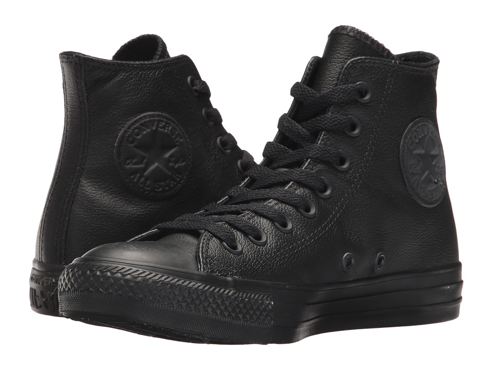 Converse Chuck Taylor All Star Leather Hi Black Mono Leather Classic Shoes