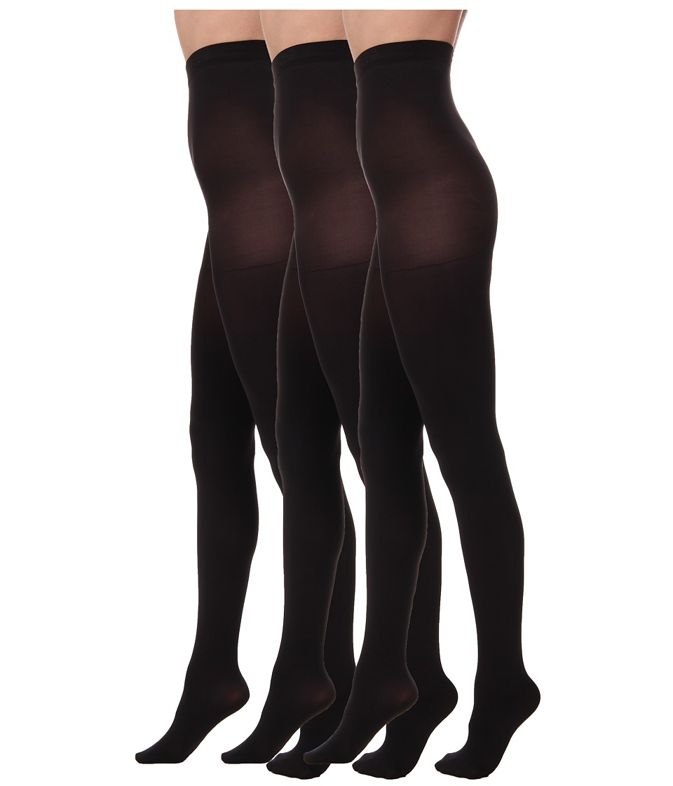 HUE - Super Opaque 3 Pair Pack Tights (Black) Hose