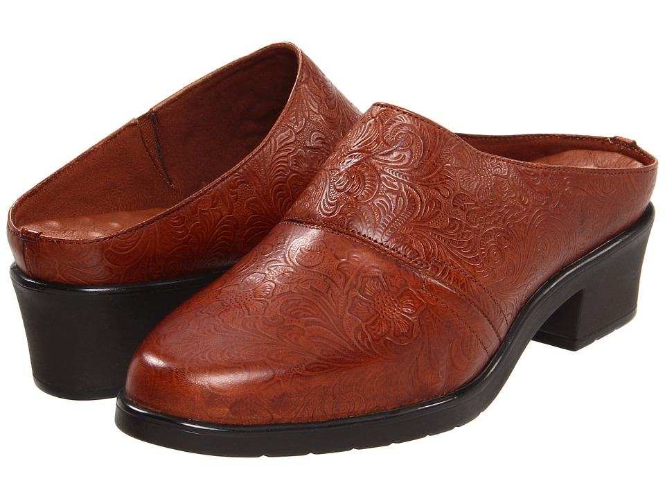 Walking Cradles Caden (Tan Tooled Leather) Women's Clogs