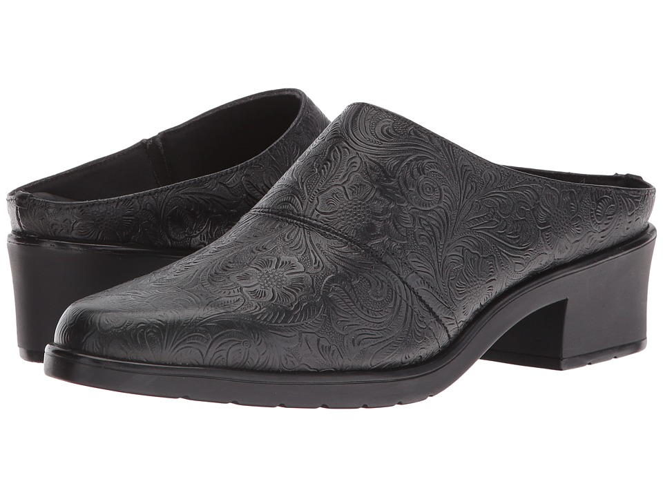 Walking Cradles - Caden (Black Tooled Leather) Womens Clog Shoes