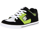 DC Kids - Pure (Toddler/Youth) (Black/Soft Lime Plaid) - Footwear
