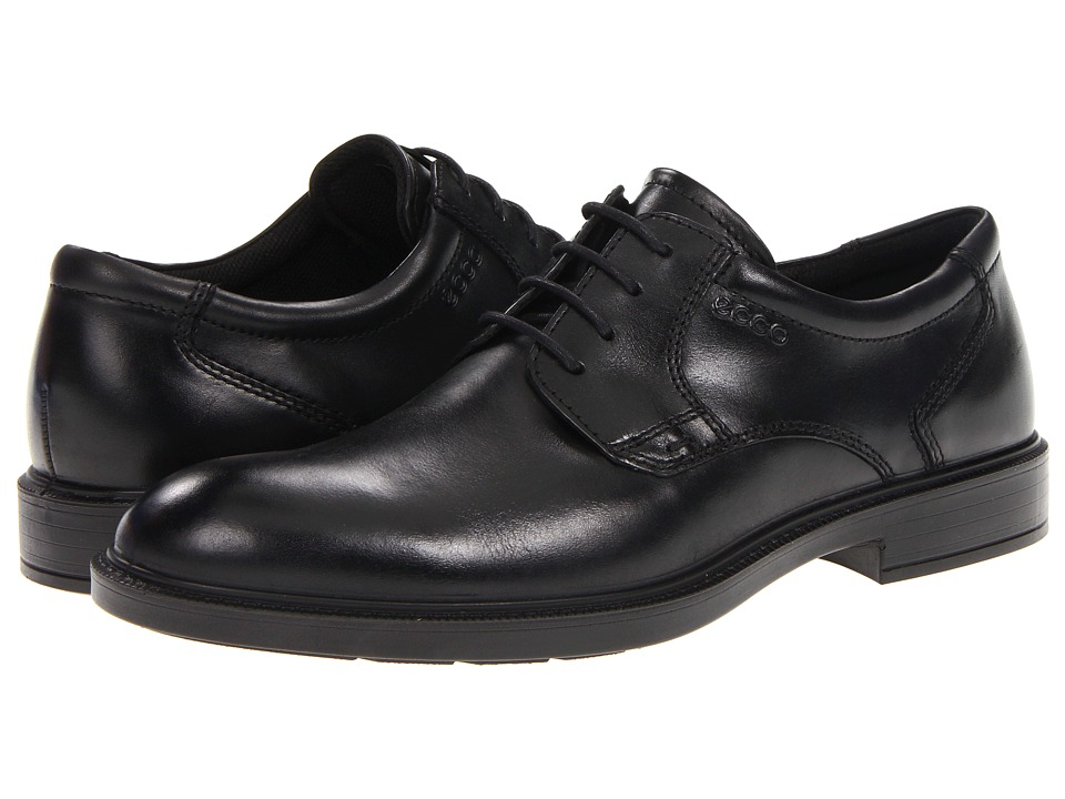 ECCO Atlanta Plain Toe Black Santiago Mens Lace Up Wing Tip Shoes