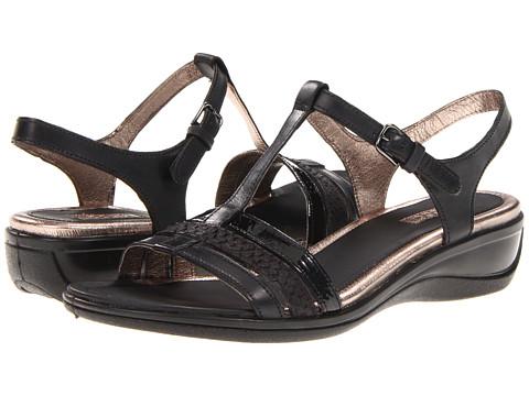 ECCO - Sensata T-Strap Sandal (Black/Black/Sambal/Clodine/Samoa Patent) - Footwear