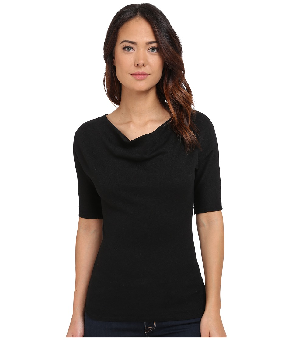 Michael Stars Shine Elbow Sleeve Drape Neck Top (Black) Women