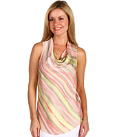 Anne Klein Petite - Petite Striped Drape Neck Sleeveless Blouse