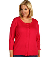 Anne Klein Plus - Plus Size 3/4 Sleeve Cardi w/ Pointelle Detail