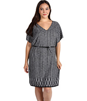 Anne Klein Plus - Plus Size S/S Flutter Sleeve V-Neck Dress