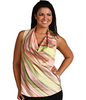 Anne Klein Plus - Plus Size Striped Drape Neck Sleeveless Blouse