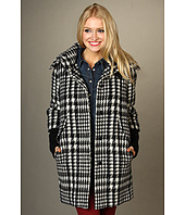 Cole Haan - Blurred Houndstooth Coat w/ Ribbed Knit