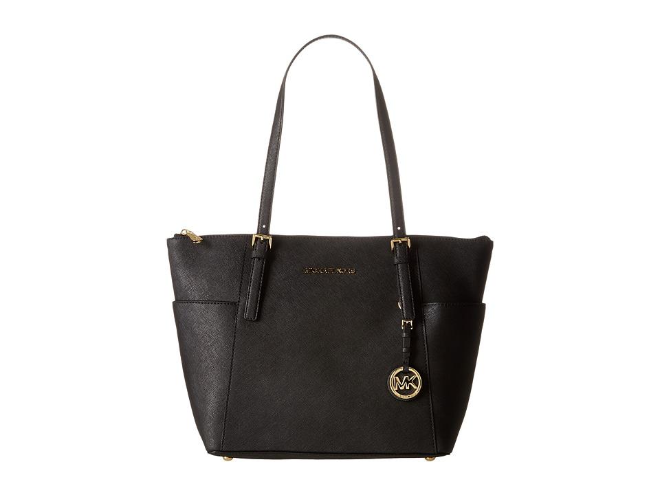MICHAEL Michael Kors - Jet Set Saffiano Top Zip Tote (Black) Tote Handbags