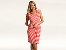 Vince Camuto - St. Tropez Summer Stripe V-Neck Tulip Dress (Salmon) - Apparel
