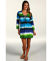Tommy Bahama - Hazy Ikat Stripe Laced Up Tunic w/ Tassels