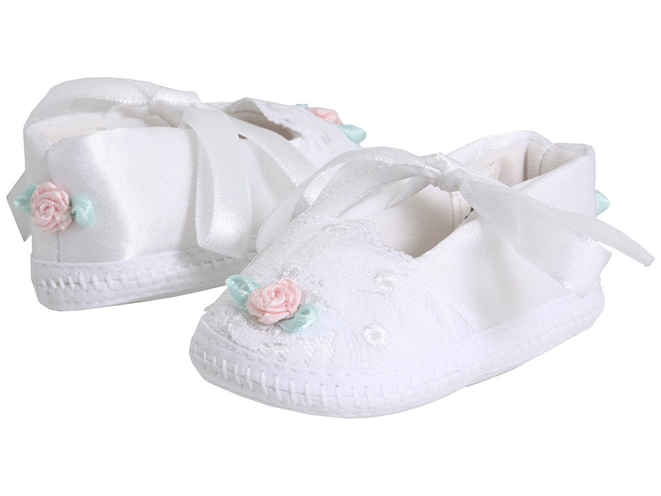 Baby Deer Dainty Infant White With Pink And Sequin Trim Girls Shoes