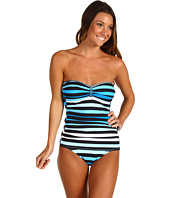 Tommy Bahama - Bermuda's Lost Stripes Shirred Bandeau Cup One Piece w/ Center Tab