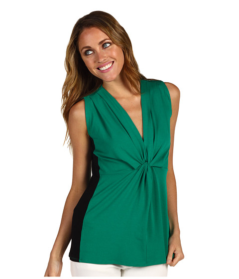 Vince Camuto Buenos Aires Sleeveless Knot Front Colorblock Top at Zappos.com