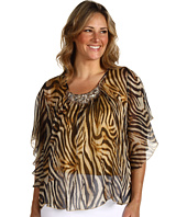 Karen Kane Plus - Plus Size Tiger Print Beaded Angel Top