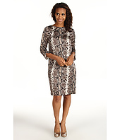 Jones New York - Python Print Boat Neck Zip Shoulder Dress