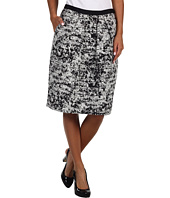 Jones New York - Abstract Plaid Grosgrain Waist Pleat Front Skirt