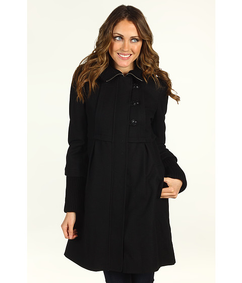 DKNY - Knit Trim Babydoll Coat (Black) - Apparel