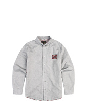 Fendi Kids - L/S Button Shirt w/ Fendi Logo Elbow Patches (Big Kids)