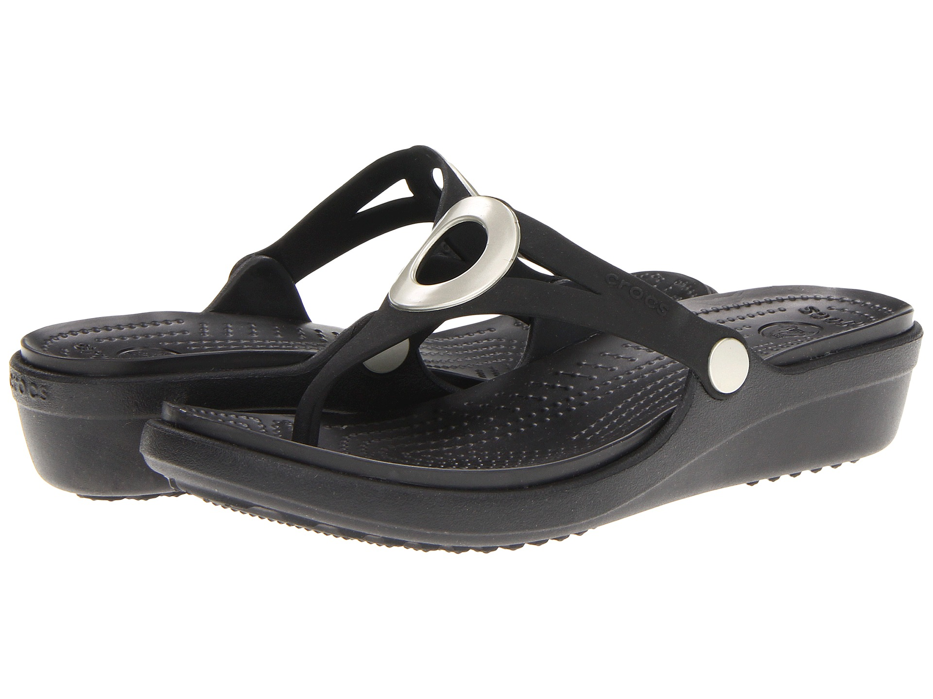 crocs sanrah wedge flip flop shipped free at zappos. Black Bedroom Furniture Sets. Home Design Ideas
