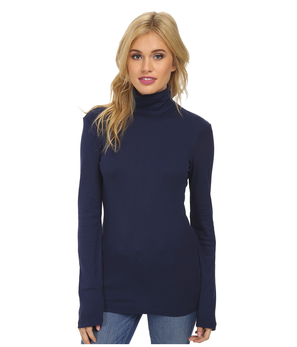 Splendid 1x1 Long Sleeve Turtleneck (Navy) Women