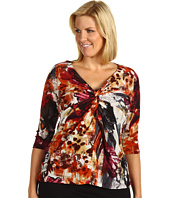 Karen Kane Plus - Plus Size Collage Print Twist Top
