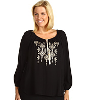 Karen Kane Plus - Plus Size Rayon Embroidered Tassel Top