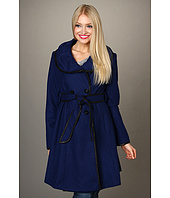 Jessica Simpson - Ruched Collar Contrast Binding Coat