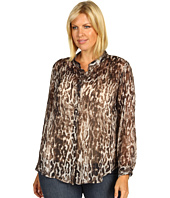 Karen Kane Plus - Plus Size Metallic Cheetah Stand Collar Blouse