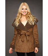 Larry Levine - Faux Suede Berber Fleece Wrap Coat