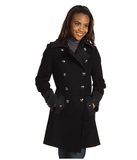 Nautica - Double Breasted Colorblock Military Wool Coat (Black/Charcoal) - Apparel