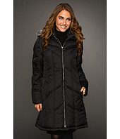 Nautica - Chevron Quilt Zip Coat w/ Faux Fur Trim