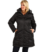 Nautica - Plus Size Chevron Quilt Zip Coat w/ Faux Fur Trim
