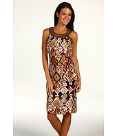 Jessica Howard - Sleeveless Pleated High Neck Sheath w/ Beads