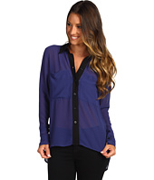 BCBGeneration - Draped-Pocket Button-Down Shirt w/ Contrast Trim