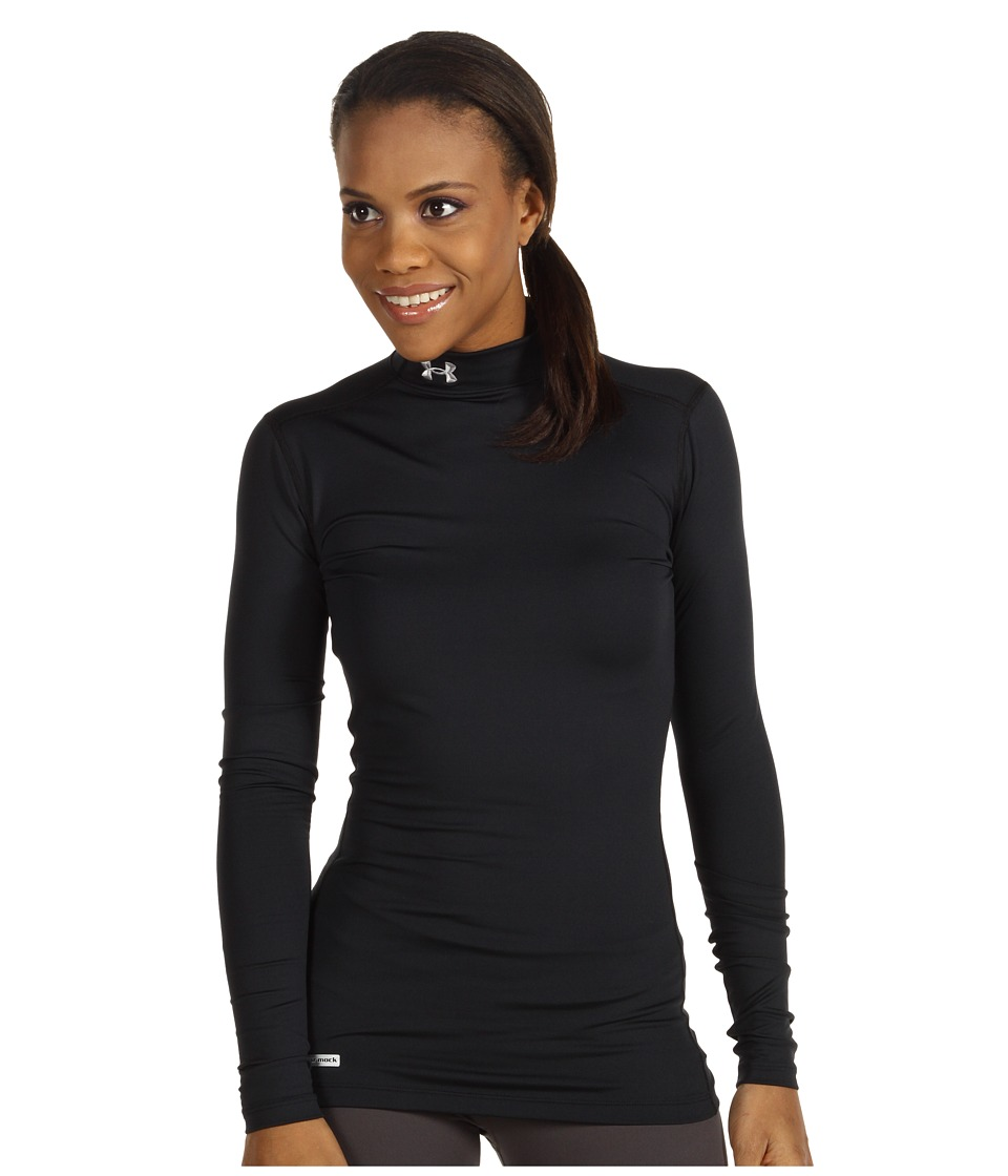 Under Armour - ColdGear(r) Fitted L/S Mock (Black/Metal) Womens Long Sleeve Pullover