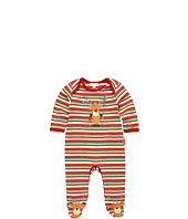 le top - Merry Reindeer Footed Stripe Rib Coverall (Newborn)
