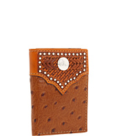Nocona - Nocona Tooled Basket and Concho w/ Ostrich Tri-fold Wallet