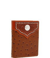 Nocona - Nocona Tooled Basket and Concho w/ Ostrich Bi-Fold Wallet