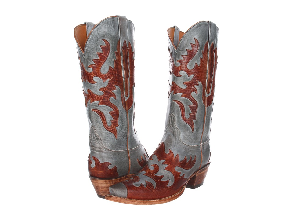 Lucchese L4721 (Sky Blue Burnished Mad Dog Goat) Cowboy Boots