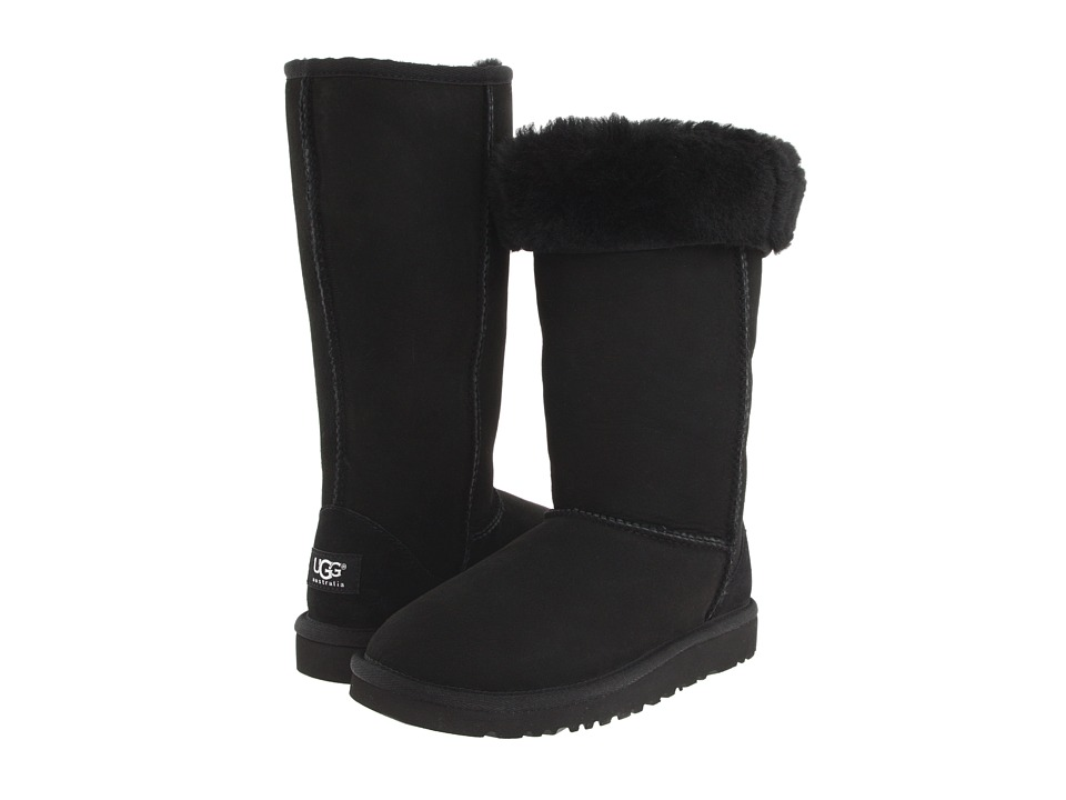 UGG Kids Classic Tall Big Kid Black Girls Shoes