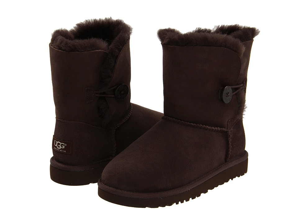 UGG Kids Bailey Button Big Kid 2 Chocolate Girls Shoes